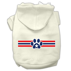 Patriotic Star Paw Screen Print Pet Hoodies Cream Size S (10)